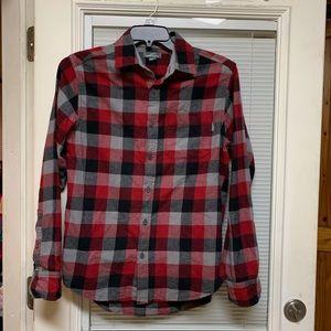 Men's Sz S Eddie Bauer red flannel button shirt
